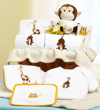 Jungle Friends New Baby Boy or Girl Gift Basket