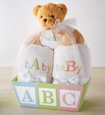 Celebrate Twins Blanket Duo Basket