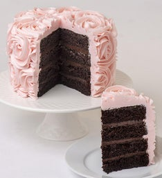 Pink Rose Buttercream Frosted Chocolate Cake