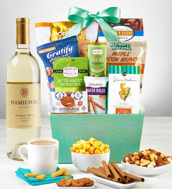 Snacks  Sweets Gift Basket with Wine