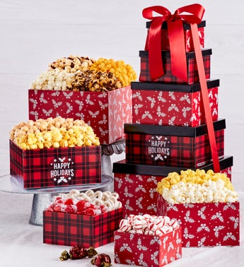 Popcorn Factory Happy Holidays Plaid 5 Tier Tower