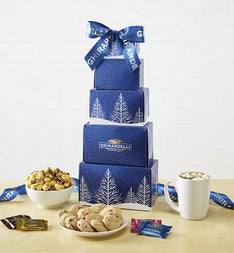 Ghirardelli Snowy Trees Sweets Tower