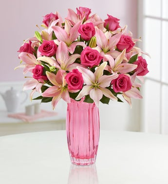 Magnificent Pink Rose  Lily Bouquet  Free Shipping