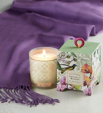 Orchid Candle with Pashmina Scarf