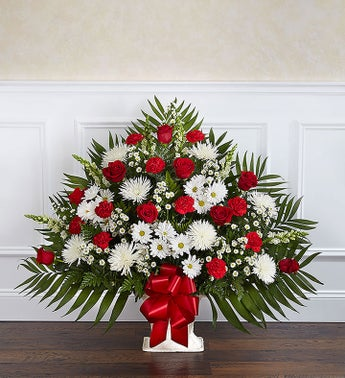 Heartfelt Tribute Red  White Floor Basket Arrangement
