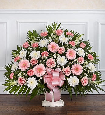 Heartfelt Tribute Pink  White Floor Basket Arrangement