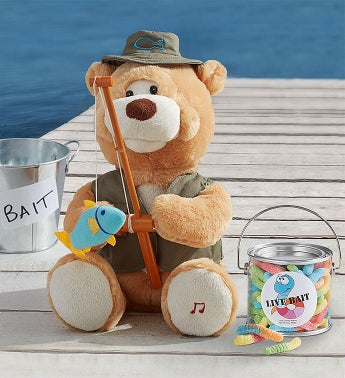 Animated Fishin Flynn Bear with Gummy Worms