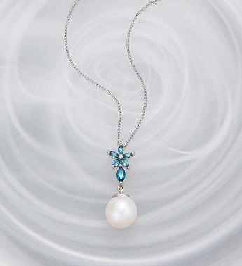 Pearl And Blue Topaz Necklace