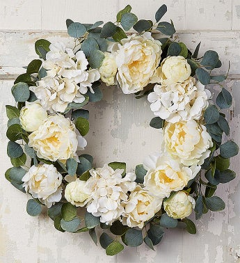 Peaceful White Hydrangea Wreath-24