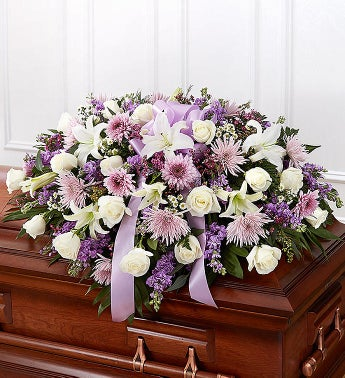 Lavender  White Mixed Half Casket Cover