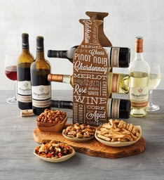 Wine, Snacks, and Wine Rack Gift