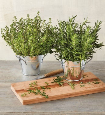 Herb Garden with Acacia Cutting Board