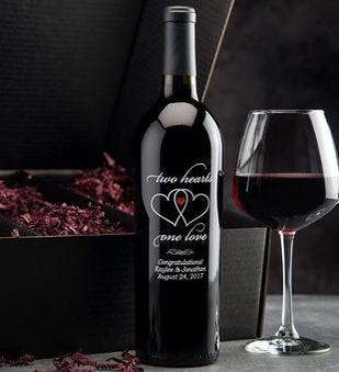 Two Hearts Personalized Wine Bottle