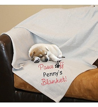 Personalized Paws Off Fleece Blanket