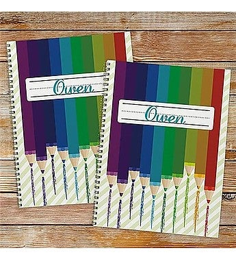 Personalized Colored Pencil Notebook - Set of Two