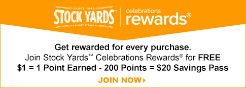Get rewarded for every purchase. Join Stock Yards Celebrations Rewards.