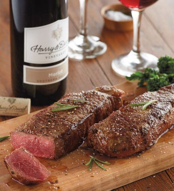 New York Strip Steak - Two 12-Ounce USDA Choice with Wine