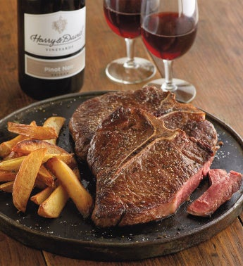 Porterhouse Steak - Two 16-Ounce USDA Choice with Wine