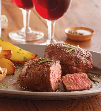 Complete-Trim Filet Mignon - Four 5-Ounce USDA Choice with Wine