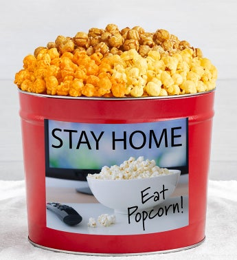 Tins With Pop Stay Home Eat Popcorn